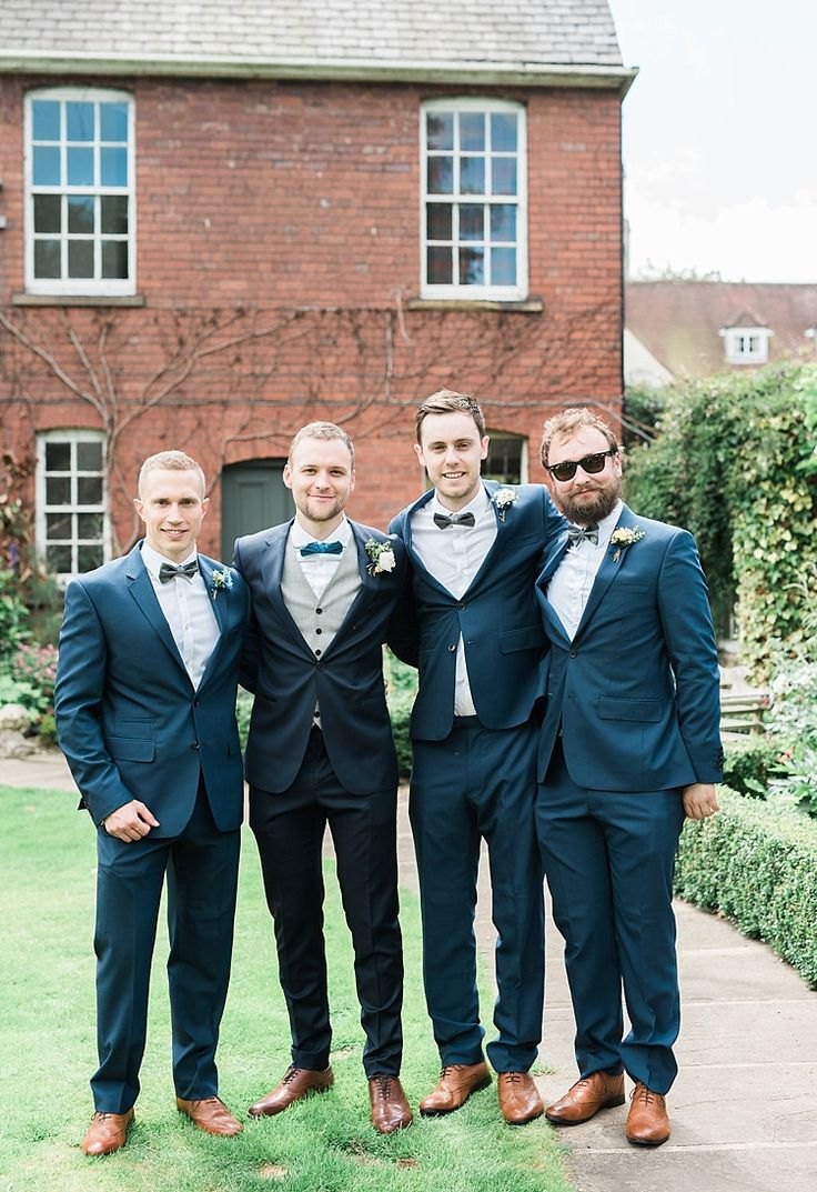 Groom Groomsmen Navy Blue Suits Tan Shoes Bow Ties Chic Natural Garden Wedding http://www.folegaphotography.co.uk/