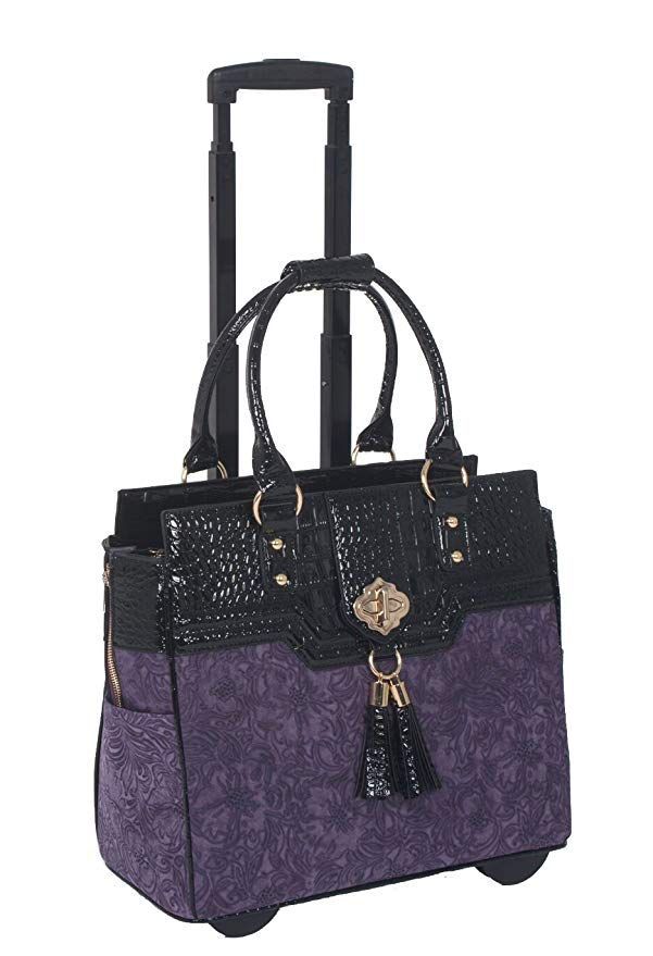 ca6bf5567091 JKM and Company THE CONTESSA Purple   Black Alligator Faux Leather  Compatible With Computer iPad
