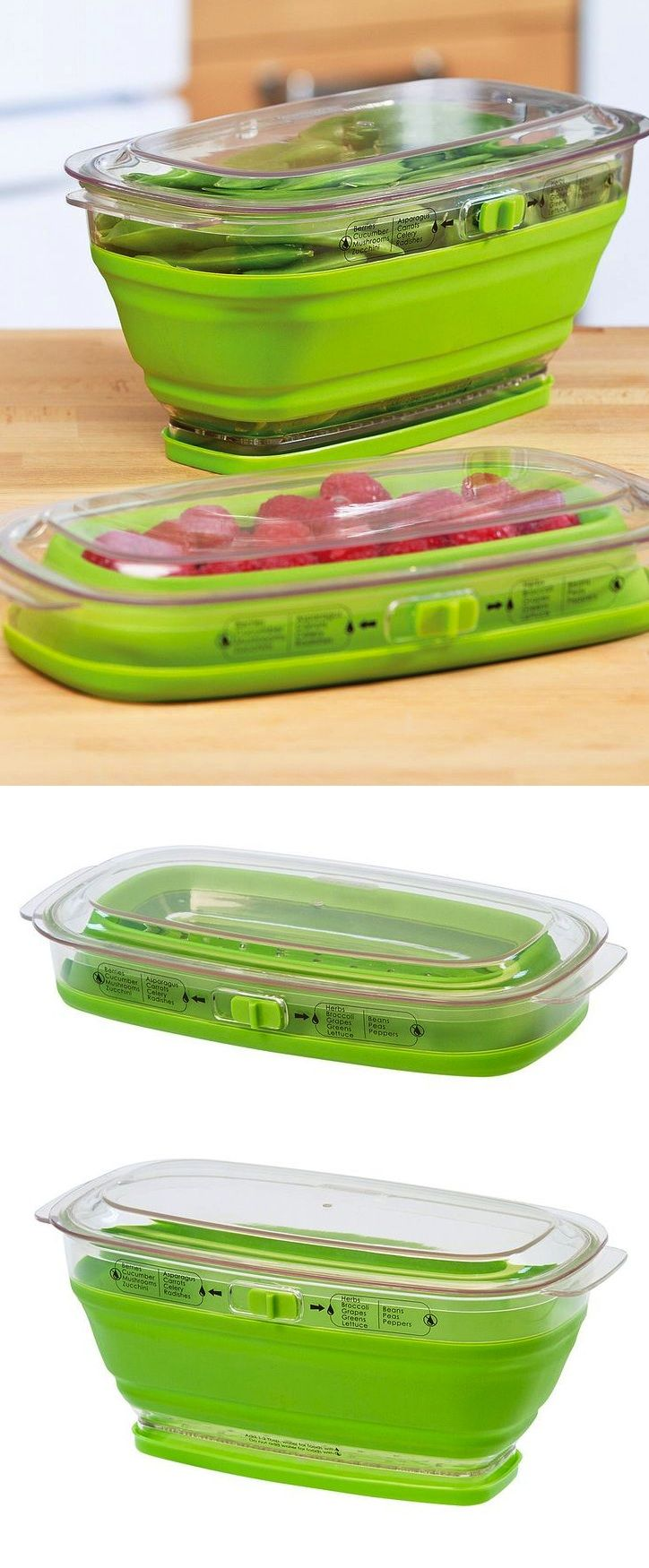 Collapsible Produce Keeper: Ingenious collapsible storage container--pop up for large quantity or collapse to store smaller portions.