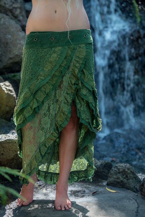 Wendy Long Lace Layered, Festival, Goa Skirt, Gypsy Wrap, Free size, Adjustable in Jungle Green