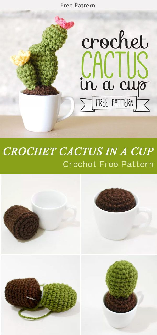 Crochet Cactus In A Cup Free Pattern #Freepattern #Flower #Crochet