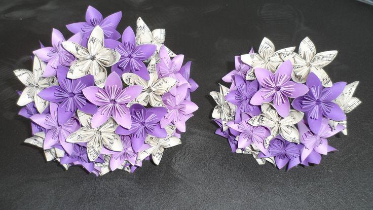 Bouquet de mariée + bouquet de demoiselle d'honneur tons violet - origami : Autres accessoires par les-petits-doigts-de-fee