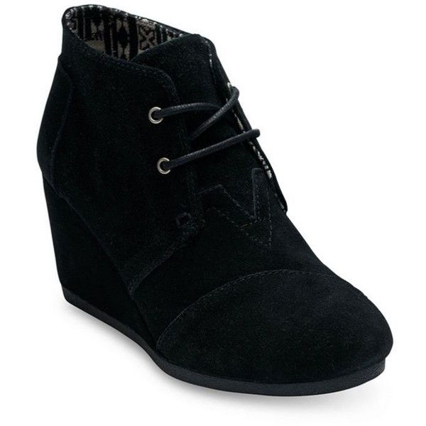 Toms Black Desert Wedge Bootie - Women's ($89) ❤ liked on Polyvore featuring shoes, boots, ankle booties, black, wedge bootie, short boots, black booties, bootie boots and wedge boots