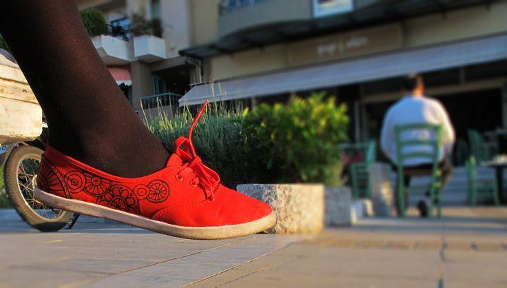 Red bike hand painted shoes!! Check my etsy shop! :) https://www.etsy.com/shop/MirandaKou?ref=hdr_shop_menu