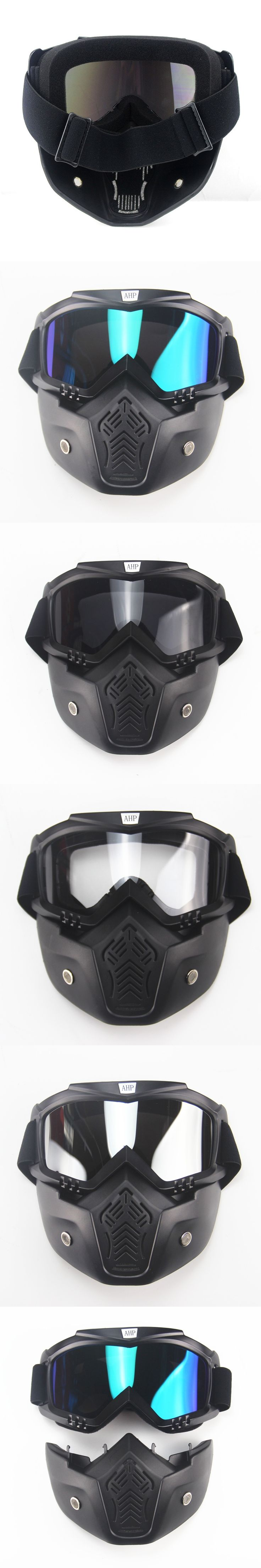 Motocross Modular Mask Detachable Goggles And Mouth Filter Perfect for Open Face Motorcycle Half Helmet or Vintage Helmets