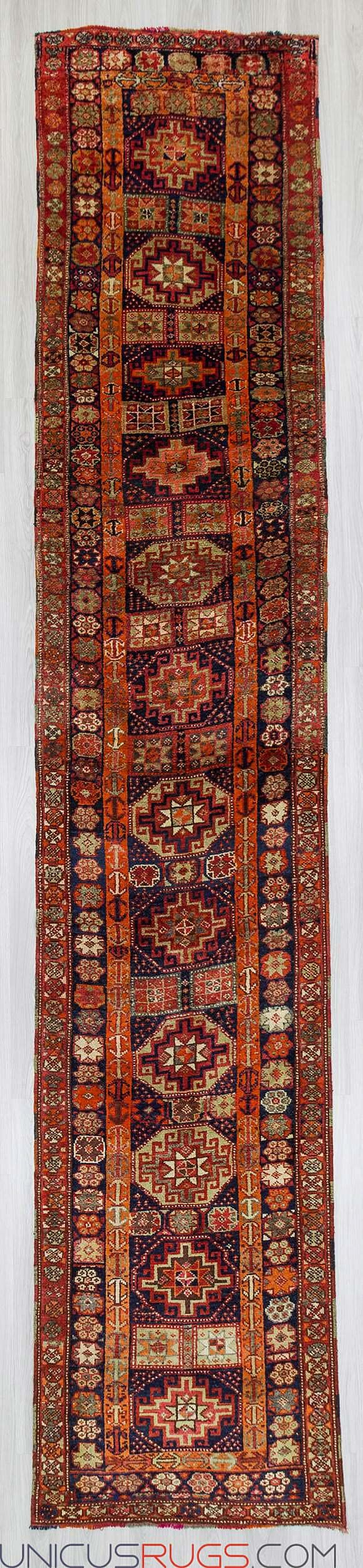 "Antique runner rug from Hakkari region of Turkey.In excellent conddition.Approximately 80-90 years old Width: 3' 5"" - Length: 16' 9"" RUNNERS"