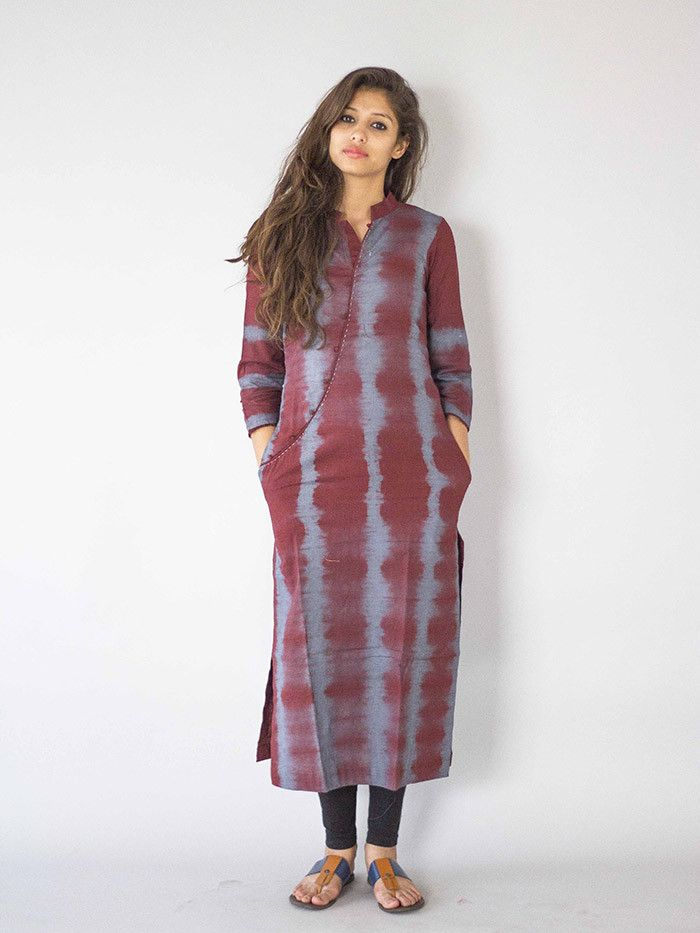 Description: It is a long kurti, with beautiful curved neck line and tie and dye print and pockets on both sides Size Chart  - S - Chest: 34'', Shoulder: 14.5''