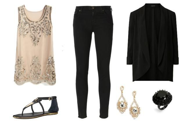 Date Outfits - Cocktails or Party Outfit - Black Jeans, Beaded Top, Black Blazer, Gold and Black Accessories
