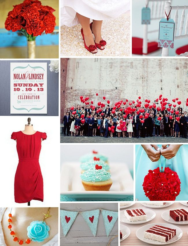 Cherry Red and Aqua Inspiration Board