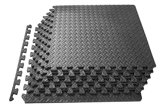 Amazon Com Prosource Fs 1908 Pzzl Puzzle Exercise Mat Eva Foam Interlocking Tiles Black 24 Square Feet Spo Exercise Floor Mat Interlocking Tile Gym Mats