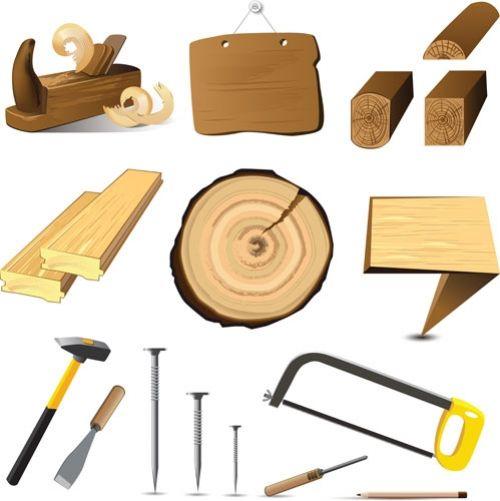 Деревянные доски, бруски и рабочие инструменты по дереву - векторный клипарт