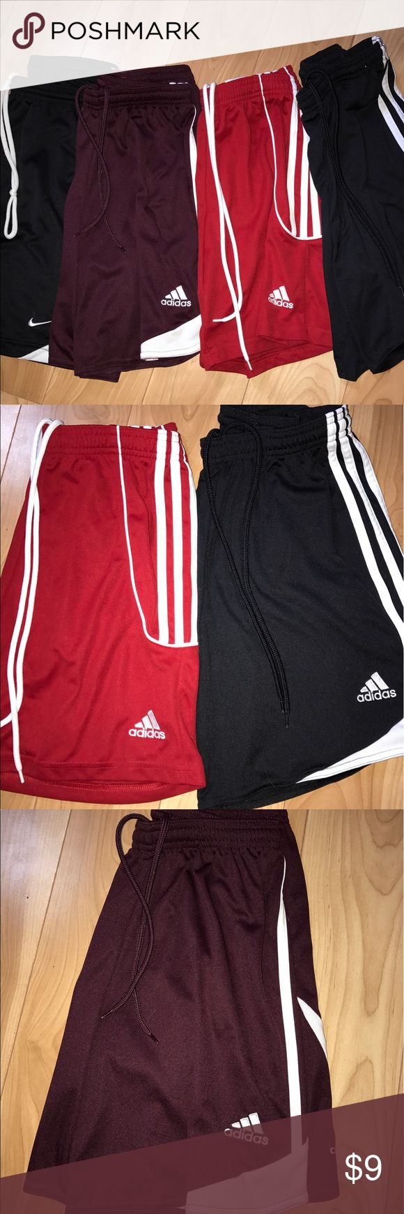 Various Adidas & Nike Soccer Shorts Women's Various pairs of women's soccer shorts, left (black) is Nike, other three are Adidas. Each was originally $25, and I'm selling all four for $29. Comment for individual listing. All size S. Adidas Shorts