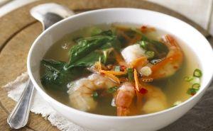 Soupe aux crevettes à la réduction d'eau d'érable