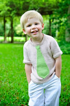 Free knitting pattern - boys sweater with tie
