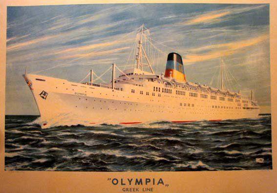 1950's Greek Olympia Ship Ocean Liner Vintage Poster