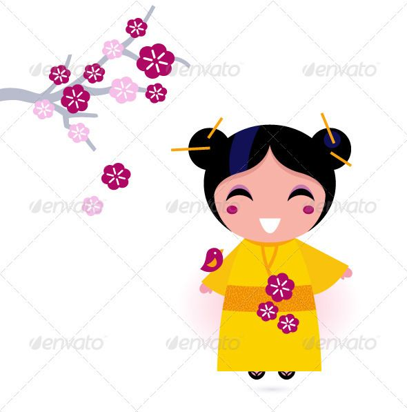 Asia girl in yellow kimono isolated on white