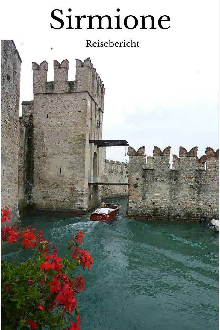 Sirmione Italien, die Wasserburg. Ein Reisebericht, mit dem Wohnmobil an den Gardasee, mit schönen Bildern. Reise-Route Wohnmobil-Tour durch Italien.