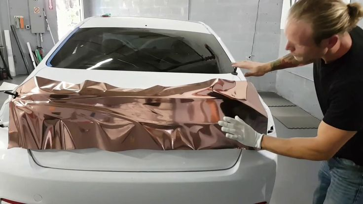 Rose gold chrome. How to chrome vinyl wrap a trunk. By @ckwraps www.ckwr…