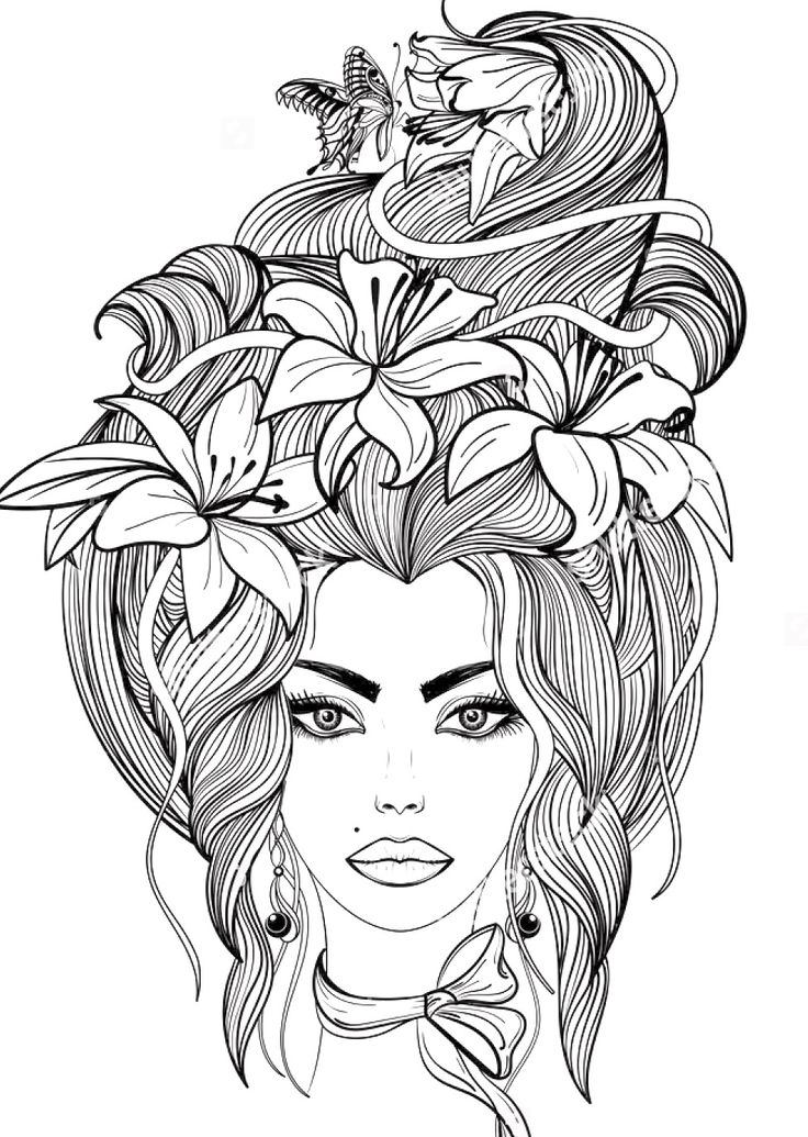 portrait of a girl with lily flowers and butterfly in her long hair coloring page - Hair Coloring Pages