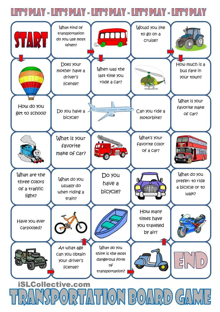 Transportation Board Game Worksheet