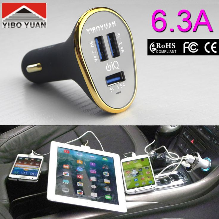 Kualitas super 3 usb 5 v 6.3a usb car charger adapter untuk iphone/samsung s6 S5 S4 S3 Catatan 4 3/semua ponsel/Pad/Mobil DVR