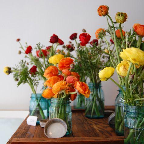 flowers: Masons, Ranunculus, Wedding Ideas, Color, Weddings, Beautiful Flowers, Mason Jars, Favorite Flower