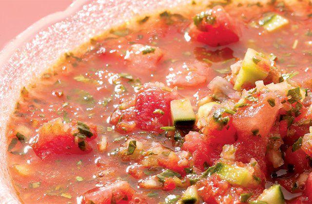 Watermelon & cucumber gazpacho recipe.