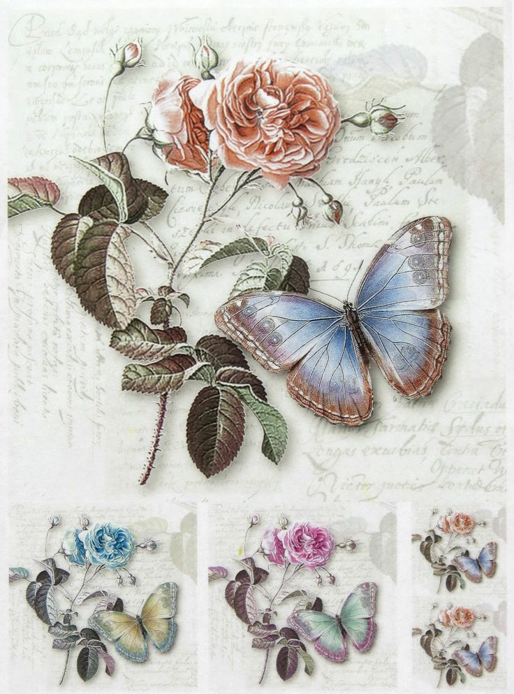 """Rice Paper for Decoupage, Scrapbook Sheet, Craft Paper """"Rose And Butterfly"""" 