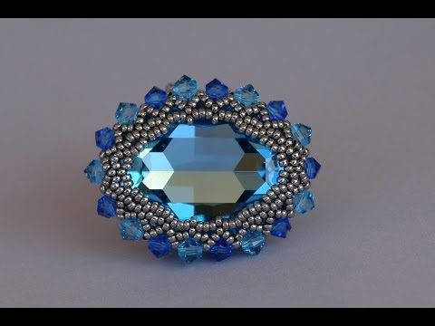 Sidonia's handmade jewelry - 30x22mm Swarovski cabochon ring - YouTube