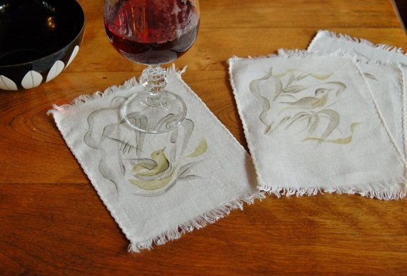 Stenciled Linen Coasters, Set of 4 Bird of Paradise Cloth Cocktail Napkins, Drink Napkin Coaster Mat, Bridal Shower, Linen Doilies