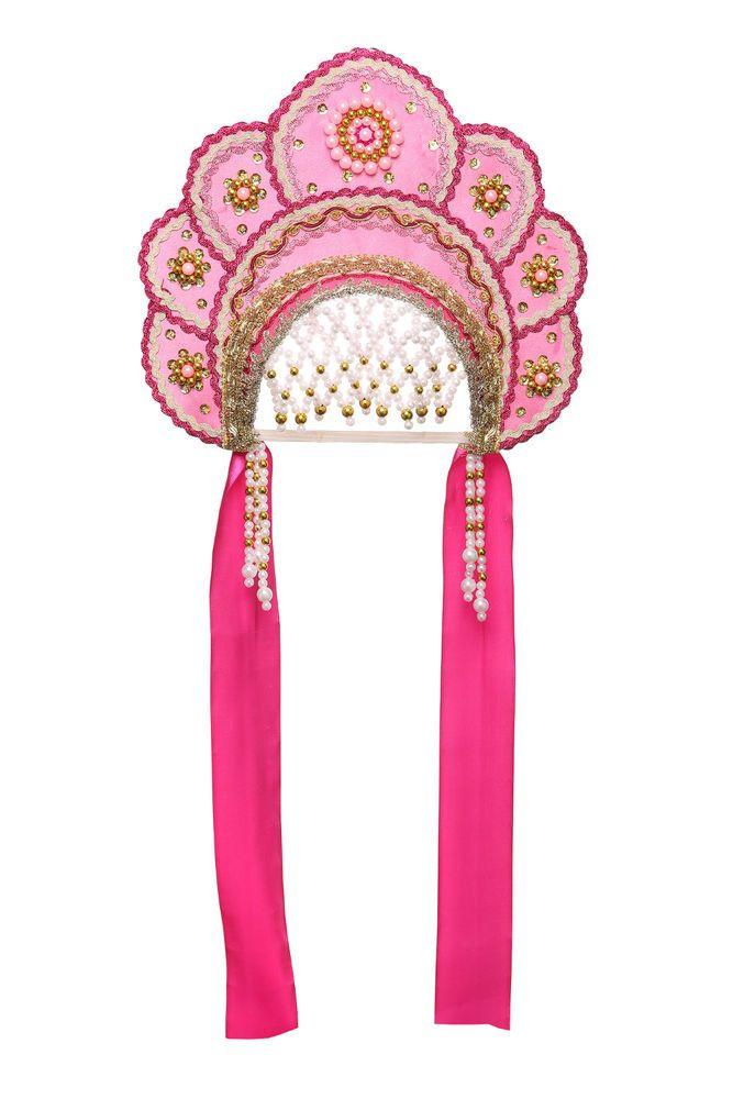 "Russian Traditional Folk Costume - Headdress Kokoshnik ""Elena"" crimson"