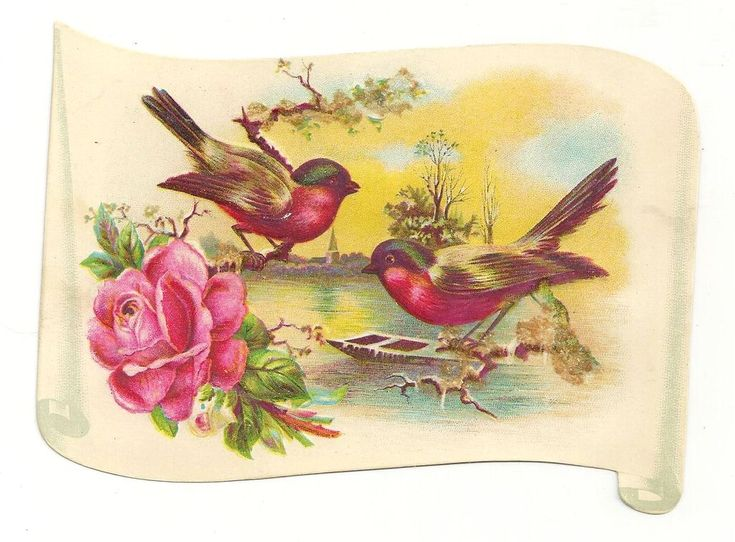 1890's Victorian Album Scrap Lithograph Embossed Scroll School Achievement Award - Spring Landscape – Birds & Rose – Glitter Coated Branches