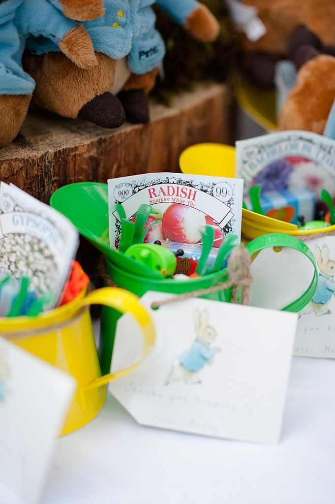 """The kids' favors were watering cans stuffed with a wind-up caterpillar, a Peter Rabbit bunny rabbit, treats, and even seeds,"" Alex says.  Source: Alex Michele Photography"