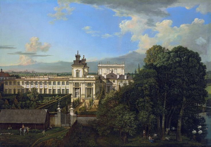 """Wilanów Palace as seen from south by Bernardo Bellotto, 1777 (PD-art/old), Zamek Królewski w Warszawie (ZKW), commissioned by Stanislaus Augustus, after 1771 the palace was owned by King's cousin Izabela Lubomirska """"The Blue Marquise"""""""