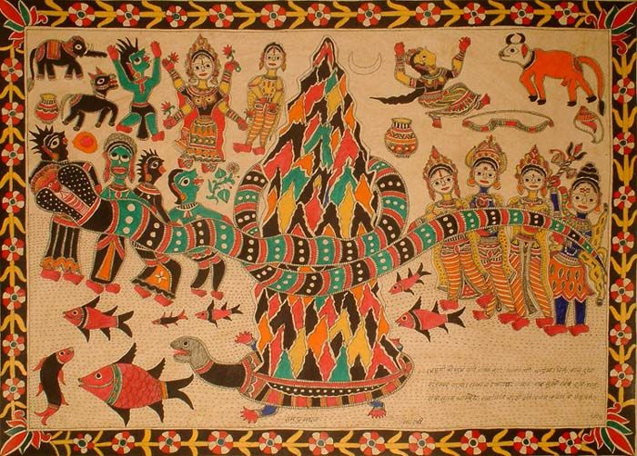 Madhubani painting, with textual labels and explanations, by Dhirendra Jha