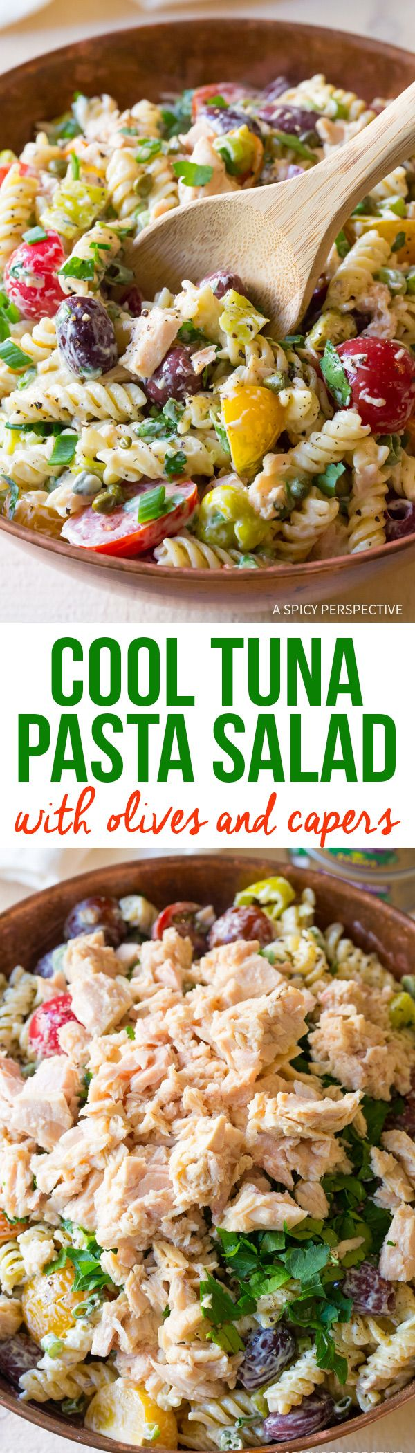 Cold Tuna Pasta Salad with Olives and Capers Recipe via @spicyperspectiv
