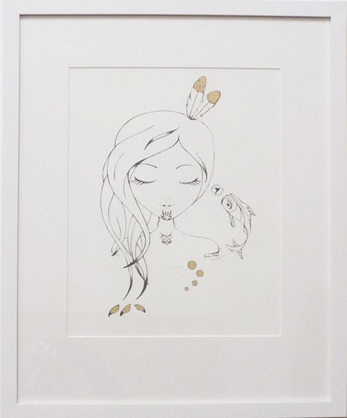 A simple sketch outline of a sleeping girl, hummingbird and koi transports you to a world where cultures collide and magical creatures hide. Hand embellishments