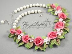 necklace with roses by polyflowers.deviantart.com on @DeviantArt