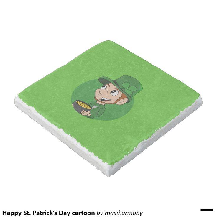 Happy St. Patrick's Day cartoon Stone Beverage Coaster