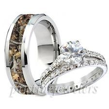 Her Sterling Silver Ring Mens Titanium Camouflage Oak Camo Promise Band 3pc Set