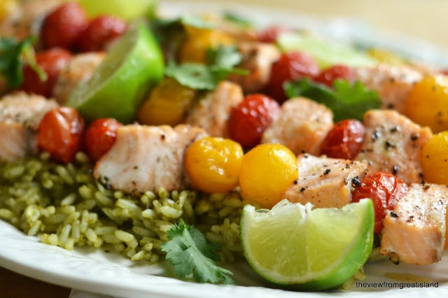 Oven Roasted Salmon and Cherry Tomato Skewers over Mexican Green Rice