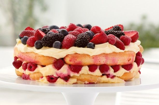 If you like tiramisu, you'll love this clever cake made with Frangelico-soaked savoiardi and layered with fresh, juicy berries.