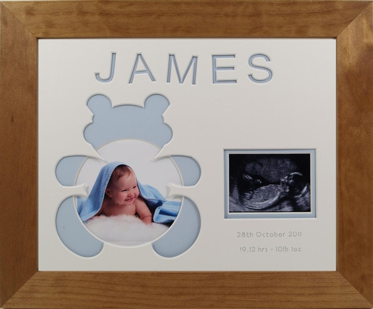 Teddy Bear for new baby boy - personalised photo frame