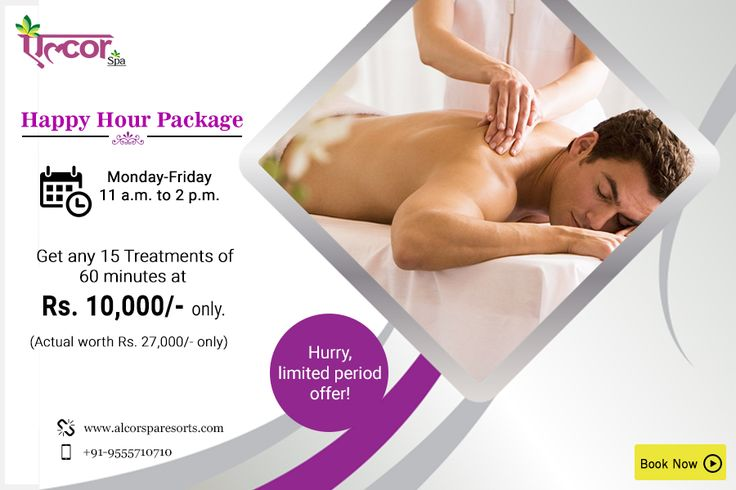 Pamper yourself or your loved ones with #AlcorSpa's Happy hour package from Monday to Friday between 11 a.m. to 2 p.m. Get any 15 spa treatments at Rs. 10,000/- only with an actual worth of Rs. 27,000/- only.Hurry! Limited period offer!Visit: http://alcorspa.in/book-appointment/ to book an appointment today!#SpaServices #SpaTreatment #HappyHourPackage #GetMorePayLess #PamperYourself #Offers