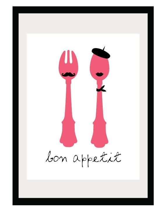Bon Appetit - 8.5x11 Print - Digital Illustration Poster - Kitchen Art - French Art - French Inspired - Him and Her - Couple. $16.00, via Etsy.