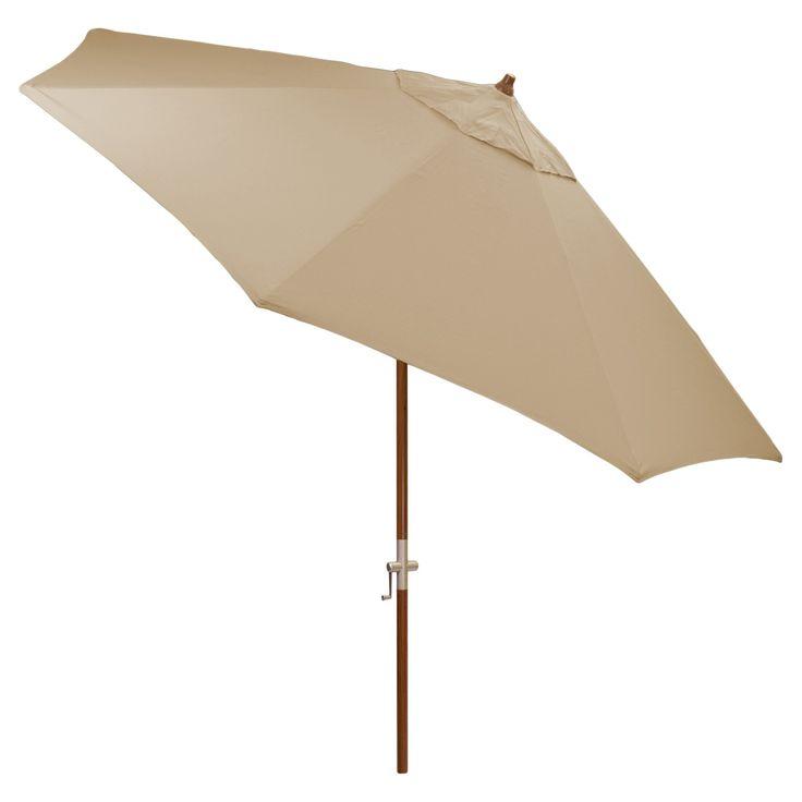 9' Round Sunbrella Umbrella - Canvas Heather Beige - Medium Wood Finish - Smith & Hawken