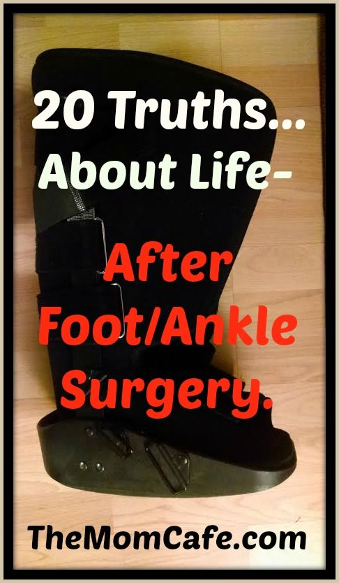 I have some more tips for foot ankle surgery. I recently had some screws taken out, so I was reminded of this experience.