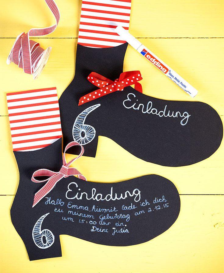 Einladungskarten passend zum Kuchen für den Kindergeburtstag mit Pippi Langstrumpf