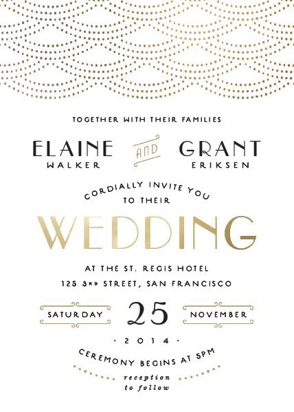 Gold glamour wedding invitation perfect for setting a glamorous mood for your big day.