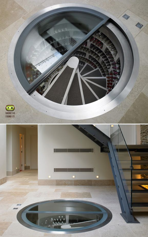 Spiral wine cellar - but with a hidden trapdoor.